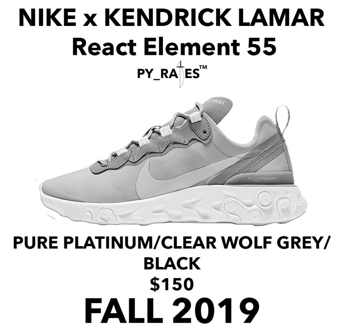 Kendrick Lamar × Nike React Element 55 releasing Fall.