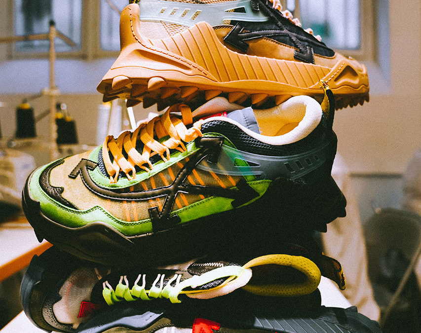 Off White releasing ODSY-1000 sneakers at pop up in Paris.