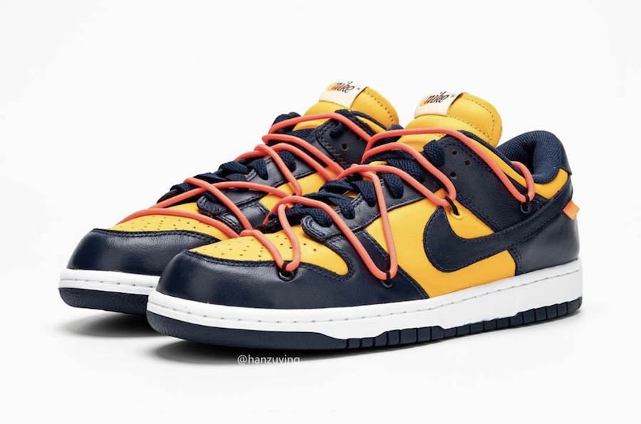 Off White×Nike SB Dunk University Gold/Midnight Navy/White